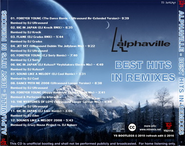YS Bootlegs - YS211A ALPHAVILLE - Best Hits In Remixes volume 1